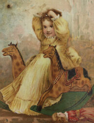 Beckwith Round Oak Stove Trade Card Girl Rocking Horse Columbia City In