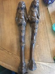 2 Antique Carved Wood Table Leg With Beautiful Figure Of A Woman In A Shell