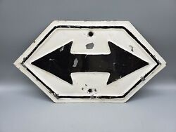 Vintage Double Arrow Directional Railroad Sign Embossed Metal / Highway Man Cave