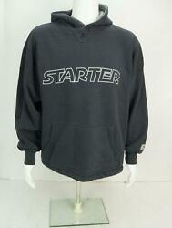 Vintage Starter Sports Spell Out Pullover Hoodie Sweatshirt Black XL