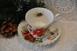 Royal Albert Yuletide Cup And Saucer Made In England Poinsettia/holly