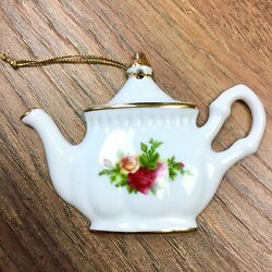 Royal Albert Old Country Roses Porcelain Teapot Christmas Ornament 1962 Floral