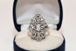 Antique Style Navette Natural Rose Cut Diamond Our Design 8k Gold Ring