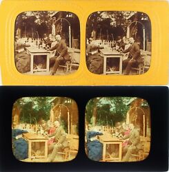 France Paris Lunch between Friends Photo Stereo Diorama Albumin Ca 1865