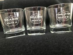 3 Etched Square Jack Daniels Whiskey Glass Its A Short Season Enjoy And Stand Up