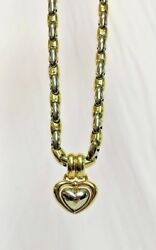 Chimento 18k Two Tone Gold Puffed Heart Pendant & Large Puffed Anchor Chain