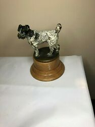 COLD BRONZE PAINTED WIRE FOX TERRIER KING EDWARD V11 Caesar DOG HOOD MASCOT