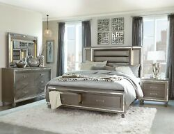 4 Pc Silver Grey Metallic Led Embossed Storage Queen Bed Ns Dresser Furniture