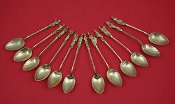 Apollo By Gorham Sterling Silver Set 12 Coffee Spoons 4 1/4 Figural Victorian