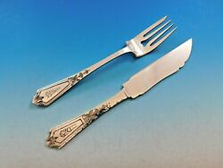 Pattern A By Gorham Sterling Silver Hammered Fish Set Knives Forks 24 Pieces