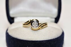 Vintage Original 18k Gold Natural Diamond Decorated Solitaire Strong Ring