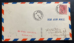 1929 Nassau Bahamas First Flight Airmail Cover Ffc To New Orleans La Usa