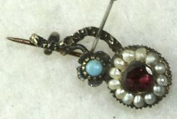 Georgian Antique 14k Gold Ruby Turquoise Pearl Halleys Comet Pin