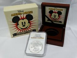 Ngc Pf 70 Mickey Mouse Steamboat Willie Le 1 Oz Silver Coin W/ Collector Box