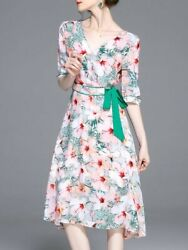 CUTE!!!! NEW Pink 34 Sleeve Floral-print Floral V Neck Midi Dress