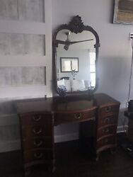 Antique Chinese Chippendale Vanity And Mirror 1910-1940 Mahogany Orig Brass Hardw