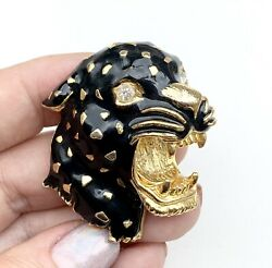 Vintage Panther brooch. 3D pin. Black enamel and paste stone. Gold Metal 1980s
