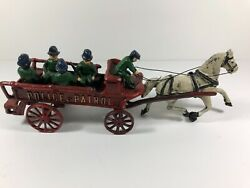 Vintage Cast Iron Toy Police Wagon And Horse