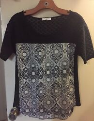 Nordstrom Rack Socialite Top Black Knit with Black and White Design Size S