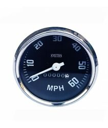 Chrome Speedometer Fit For Smith Black Face 0-60 Mph Bold Vintage Bikes Replica