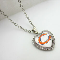 New Chicago Bears Necklace Crystal Heart Charm Simulated Diamond Pendant Jewelry