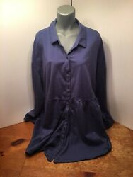 Woman Within Heather Blue Button Front Tunic Top CUTE CUTE Style Plus Size 3X