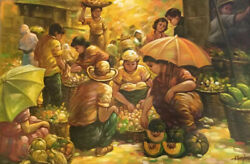 """Large Marketplace Folk Art Oil Painting On Canvas Signed """"a Bondoc"""" 24in X 36 In"""