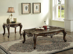 Latisha - Coffee Table Marble And Antique Oak