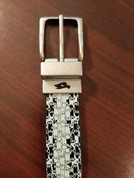 (5D6) Tony Hawk Skateboard Leather Belt Black & White Small 26-28
