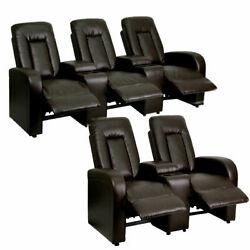 Flash Furniture Eclipse Series 3-seat And 2-seat Reclining Brown Leather Thea...