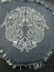Embroidered White Gemini Mermaid Large Denim Fray Patch  Quilt Square Block