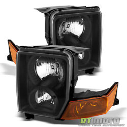 2006-2010 Jeep Commander Black Headlights Headlamps Replacement Left+right 06-10