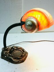 Mermaid Desk Lamp W/ Sea Snail Shell Shade Aged Bronze W/ Touch Of Verde Vintage