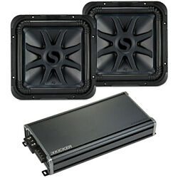 Kicker 44l7s152 Car Audio Solobaric 15 Subwoofer Pair And 43cxa18001 Amp Bundle