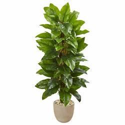 58 Large Leaf Philodendron Artificial Plant in Sand Stone Planter (Real Touch)