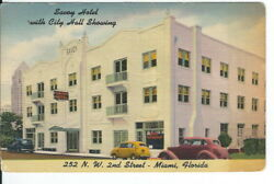 CA-486 FL Miami Savoy Hotel with City Hall Showing Linen Postcard Old Cars