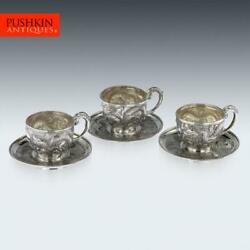 Antique 19thc Chinese Solid Silver Three Tea Cups And Saucers, Nam-hing C.1890