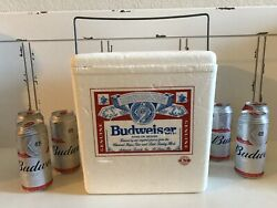 Vintage Budweiser Styrofoam Cooler Ice Chest Collectible Metal Handle