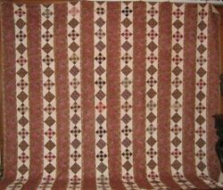 Museum Quality Huge Glazed Chintz Antique Quilt Early 1800s Fab Fabric 9 Patch