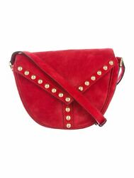 Saint Laurent YSL Y Studded New Red Besace Suede Saddle Bag Crossbody 439143 $807.50