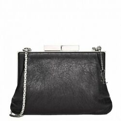 Saint Laurent YSL Bag Bijoux Black Leather Metal Chain Pouch Handbag 424334