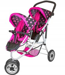 Lissi Deluxe Twin Doll Jogger Black With Pink Trim And Pink Polka Dots