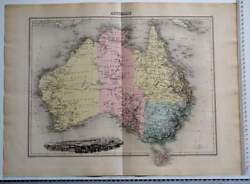 Antique Australia Map 1900s French Engraving Sydney Old Vintage Double Page Rare