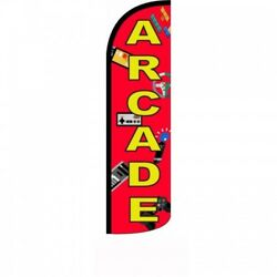 Arcade Banner Sign Flag Pole Display Windless Feather 2.5 Wide Swooper Red