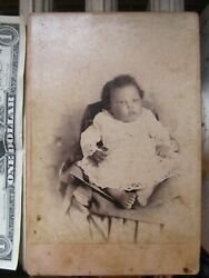 Very Rare Studio Cabinet Photo, African American Baby Girl, 1880, Mississippi