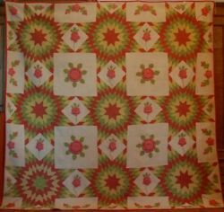 Star Rose Trapunto Antique Quilt Pieced Applique Provenance Lights Up Room