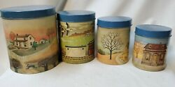 Vintage Vandor Country Farm Tin Canisters Display Only
