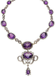 22.10cts Rose Cut Diamond Amethyst Antique Victorian Look 925 Silver Necklace