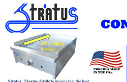 New 24 Thermostat Gas Griddle Flat Top Plancha Grill Nsf Stratus Stg-24 5826