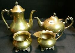Antique 4 Piece Etched Brass E.p.n.s. Footed Tea / Coffee Set Very Good Cond